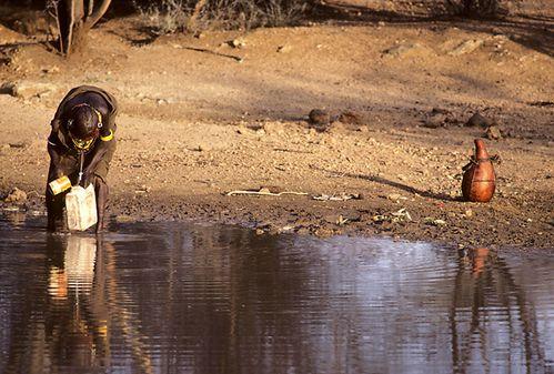 Femme Turkana collectant de l'eau croupie dans une mare-KEN