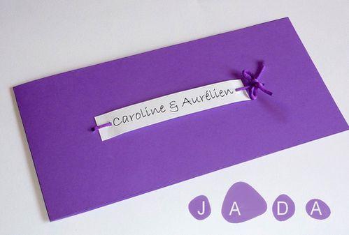 14 faire part rectangle violet mauve blanc cordon etiquette