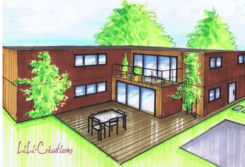 Maison container en l le blog de elise fossoux for Plan conteneur