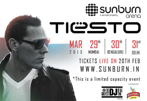 Tiësto date Bangalore India 30 march 2013, ticket