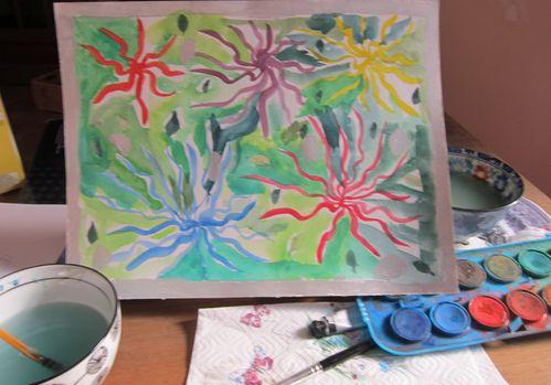 aquarelle les fleurs de tokio atelier d'art enfants avec un