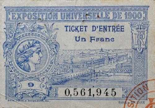 Ticket d'entrée pour l'exposition universelle