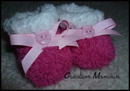 chaussons doux roses