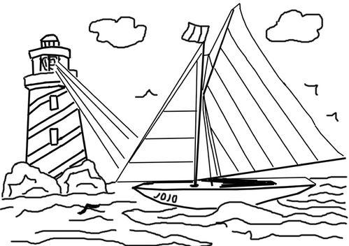 Coloriage phare et bateau le blog de ludovica - Coloriage bateau a imprimer ...
