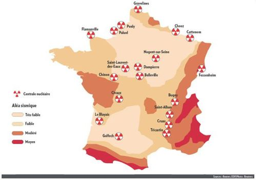 carte de France centrales nuclaires failles sismiques