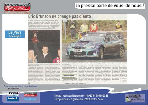 Coupure de presse journal le pays d 39 auge 14 f vrier 2012 tac sport even - Le journal le pays d auge ...