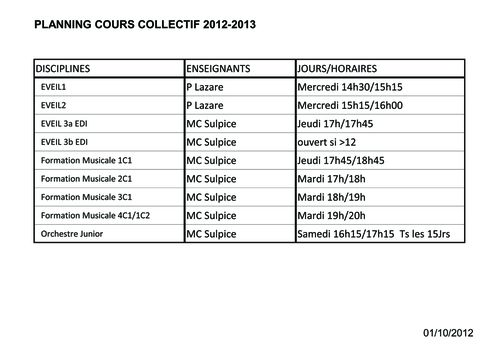 Planning cours collectifs 2012-2013 Yenne