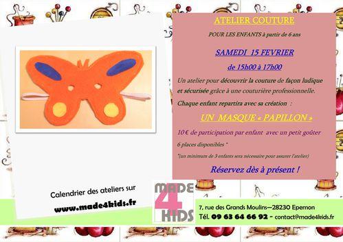 Atelier 15 février 2014 - La Félily - Masque Papillon