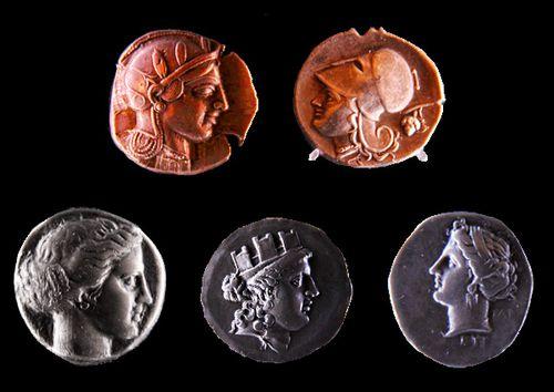 767g Athènes, musée numismatique, visages