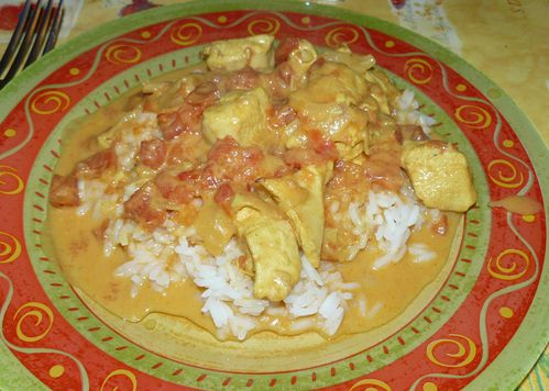 poulet coco curry tomate