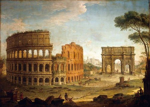 View of the Colosseum and The Arch of Constantine