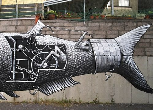 Phlegm poisson street-art 2
