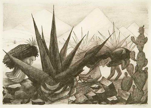 Magueyes, nopal y figuras - José Clemente Orozco