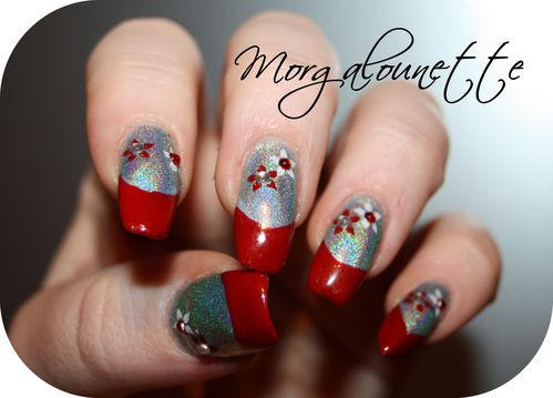 French Rouge sur Holographique et stamping strass -copie-6