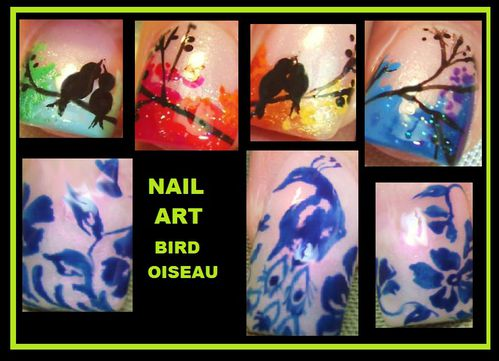 oiseau bird nail art