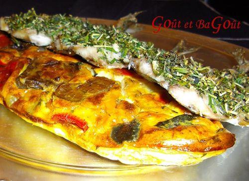 sardines grillées en croûte d'herbes et clafoutis légume