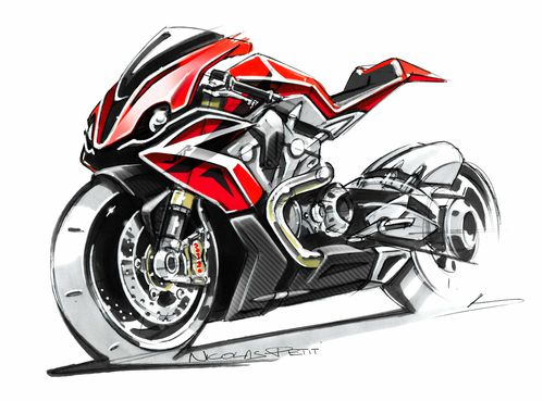 sketch honda vtr 1200 red and black 2