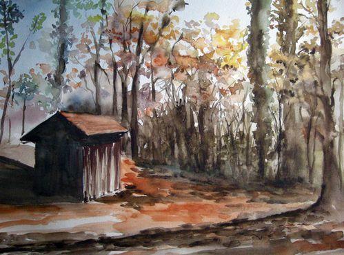 Paysages.Cabane en automne