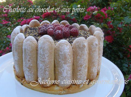 Charlotte Chocolat Poires Jaclyne cuisine et gourmandise