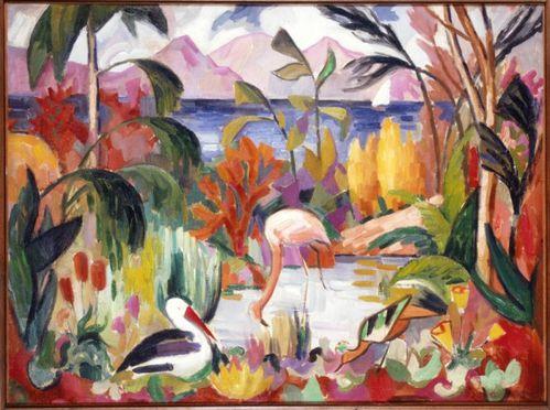 Jean Metzinger Paysage coloré aux oiseaux exotiques 1907