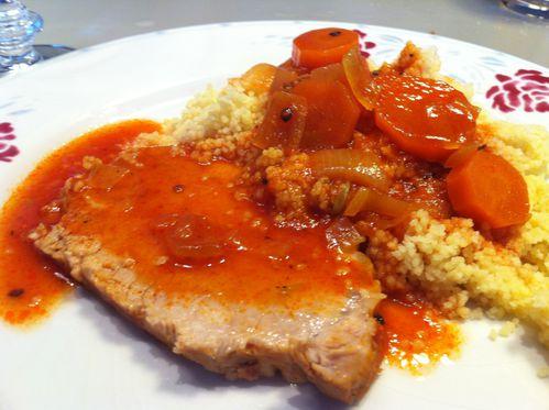 R ti de porc cocotte tomates carottes et semoule - Comment cuisiner un faisan en cocotte ...
