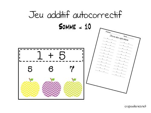 Gut bekannt maths CP: jeu additif autocorrectif 01 - Crapouilleries ND25