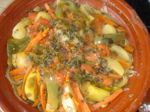Tajine berb re l agneau et aux l gumes le blog de houria - Cuisiner avec un tajine en terre cuite ...