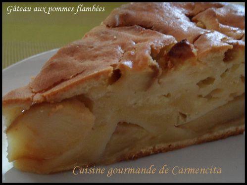 Gâteau aux pommes flambées au calvados-border
