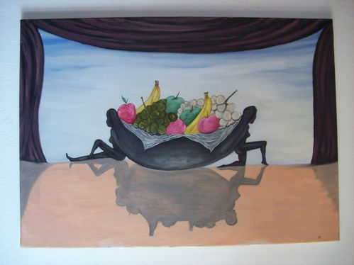 84x60 cm. toile chassis.paniére a fruit.25,01,2004. oil