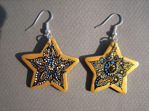 boucles d'oreilles étoiles or, noires, bleues et -copie-1