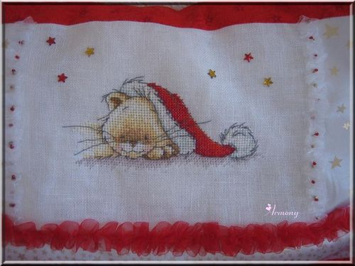coussin chat noël 2