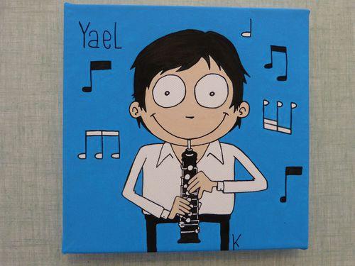 Numéro 39 peinture acrylique garçon hautbois notes musiqu