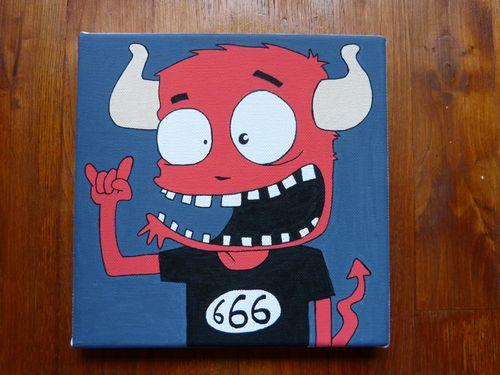 numero 34 peinture acrylique illustration daible enfer 666