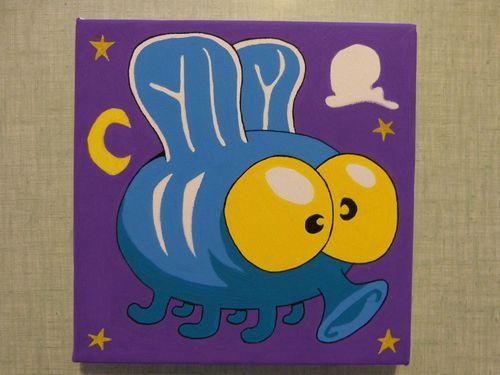numéro 47 peinture acrylique mouche vermine 01 illustratio