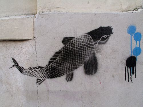 Street-art pochoir poisson