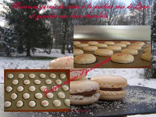 Macarons Crème praline rose de Lyon et deux chocolats Jaclyne cuisine et gourmandise