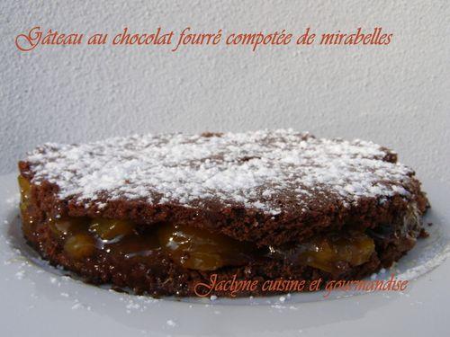 Gâteau au chocolat compotée de mirabelles Jaclyne cuisine et gourmandise