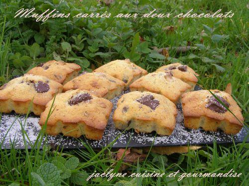 Muffins carrés aux deux chocolats Jaclyne cuisine et gourmandise