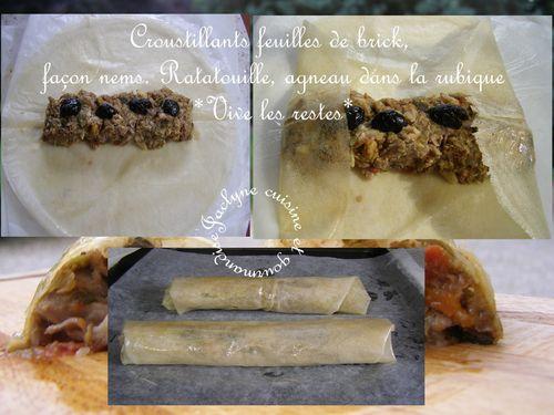 Croustillants feuilles de brick, façon nems. Ratatouille, agneau dans la rubique *Vive les restes* Jaclyne cuisine et gourmandise