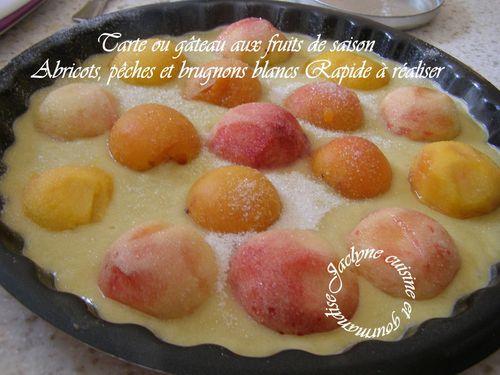 Tarte ou gâteau aux fruits de saison Abricots, pêches et brugnons blancs Rapide à réaliser Jaclyne cuisine et gourmandise