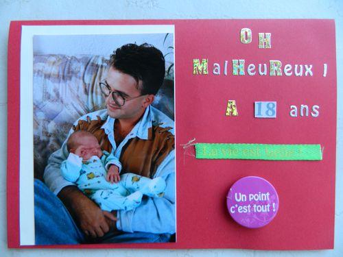 Célèbre carte d'anniversaire en scrap pour les 18 ans d'antoine - Mon Scr@p YB49