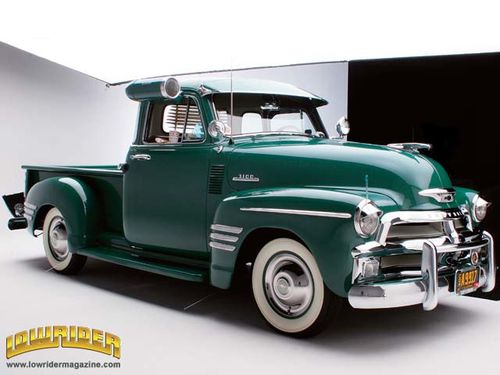 0605 lrm 02 z+1954 chevrolet 3100 pickup truck+front view