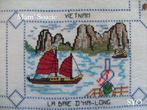 Carte brodee-Baie d'ha-long-Mamigoz