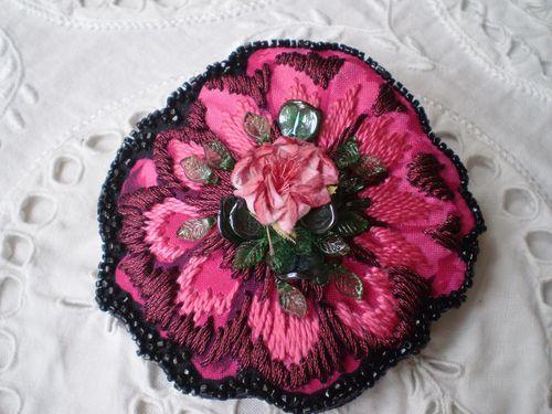 Barrette Fleur brodée Rose