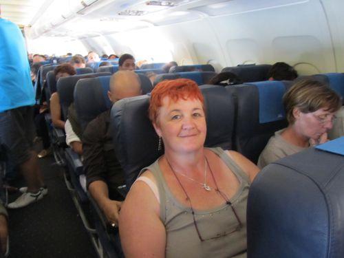 Moi ,dans l'avion du retour