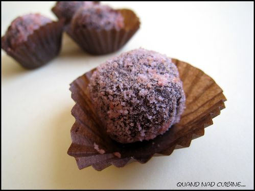 truffes chocolat-biscuits roses