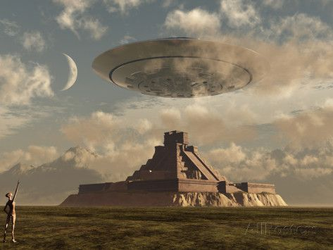stocktrek-images-a-reptoid-greets-an-incoming-flying-saucer