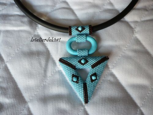 Collier 3D Turquoise-Chocolat 1