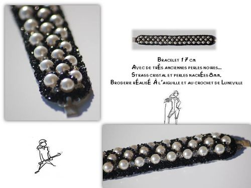 Bracelet nacre perle noire ancienne strass