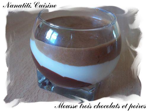 Mousse trois chocolats et poires 4
